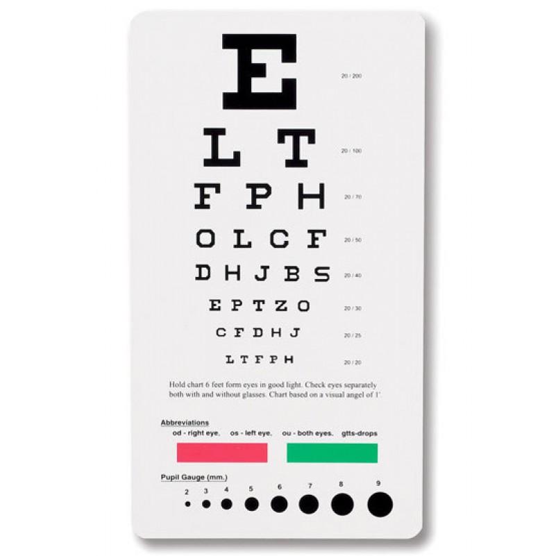 Pocket Snellen Eye Chart #3909