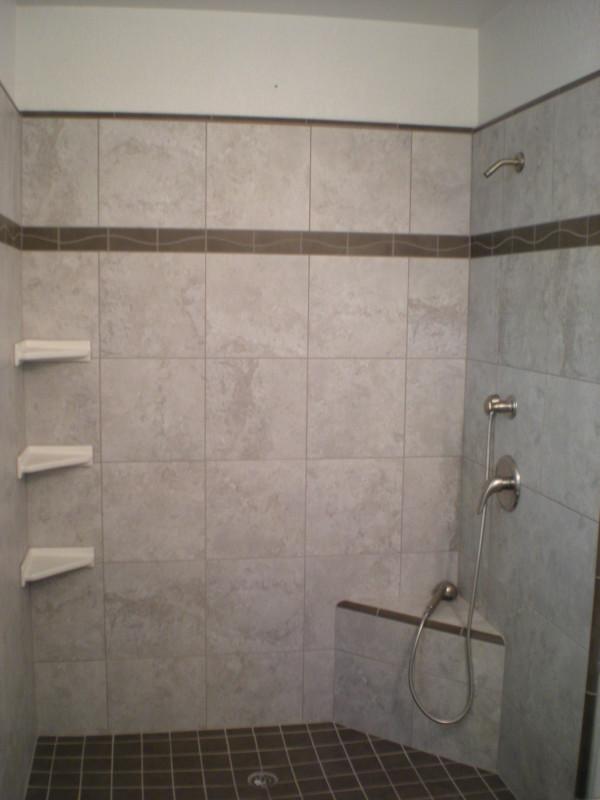 Custom Tile Shower with Shelves  Bench  Redding CA