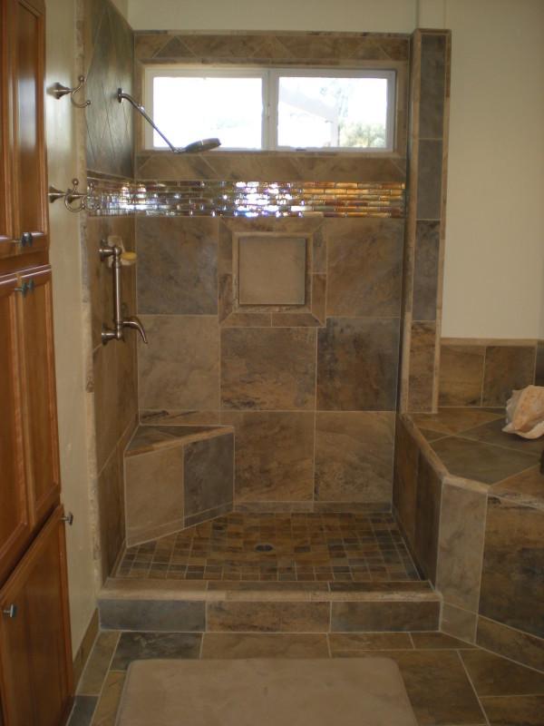 Custom Bathroom wGranite Slab Counter Cascading Faucets