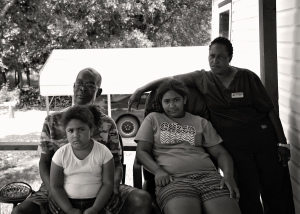 Molly Lorenzo and grandkids - b and w
