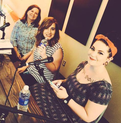 Kelly Roberts, April Kirby and Rachel Apple (l to r) relax in the Oklahoma Talking Co studio prior to taping an OKC Show podcast. Instagram Photo by Jason Baffrey.