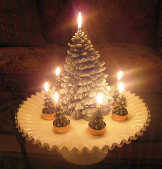 Fenton cake stand with candles