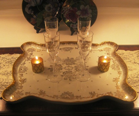 Limoges platter on console