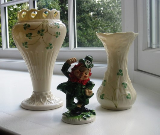 beleek vases in bay window