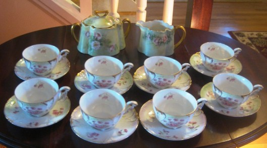 mint green tea set full view