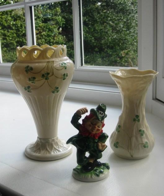 Belleek vases in bay window