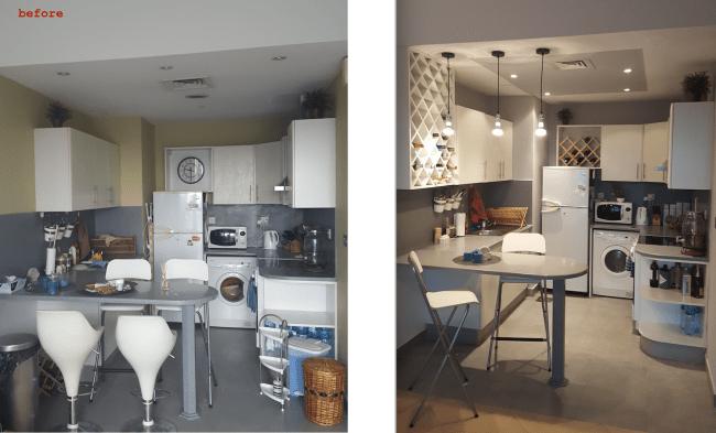 kitchen renovation, upgrade, dubai, tecom, madisson, white kitchen design, wine rack, bar lights