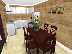 dining kitchen interior design proposal 3D