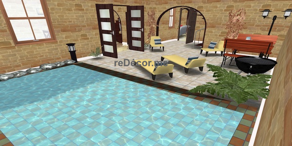 pool 3D of house of character interior design