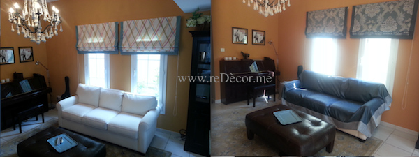 living room easy makeover by only changing curtains