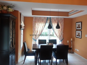 cozy orange dining with Pottery Barn dubai