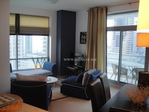 dubai marina interior decor blue and white