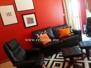 colourful lively red interior decor dubai
