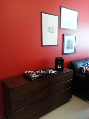 20simple black and red interiors dubai , wall decor solutions