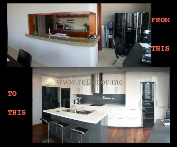 Kitchen remodelling Dubai downtown grey and white