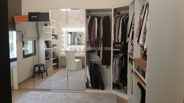 Dressing room, beige and white, roses wallpaper, Interior design dubai