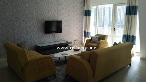 Yellow blue grey interior decor Dubai for rental properties