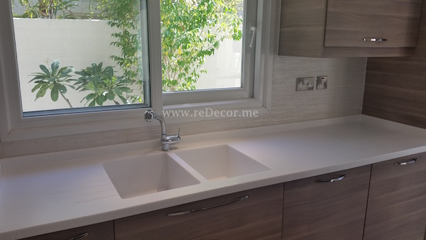 old kitchen remodelling in Meadows, Dubai, construction, turn key solutions, white ceramic tiles with stainless steel decor