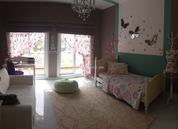 girls bedroom, brownish pink, turqoise, butterflies, flowers, pink , Dubai interior decor and design for kids