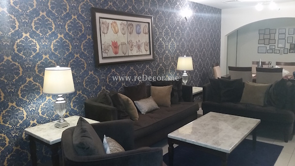 Living room make over , blue and yellow combo , wallpaper dubai, brown sofa and navy rug