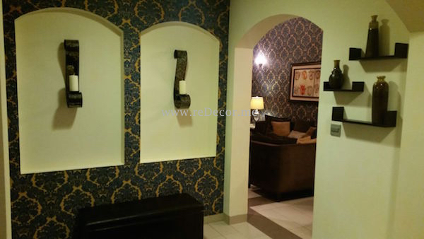 Blue and yellow wallpaper , brown furniture , Living and hallway