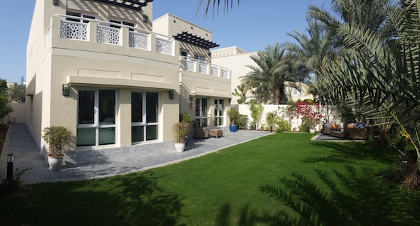 back garden landscaping, new lighting, irrigation system, outdoor furniture, Dubai interior and exterior design