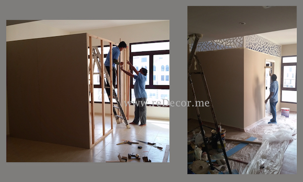 build partition, separate rooms Dubai interiors, design, electrical work, construction residential, small jobs