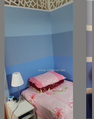 Boys room design, decor, blue room, blue stripes, Dubai, extra built room, jotun paint