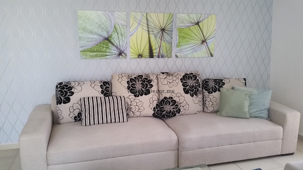 Living room upgrade, white sofa, blue and yellow combo, living in JLT, Interior decor and design Dubai, luxurious living, remodelling