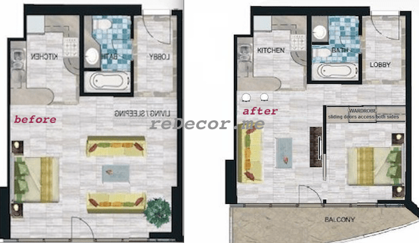 before and after floor plan studi space planning Dubai, Interior