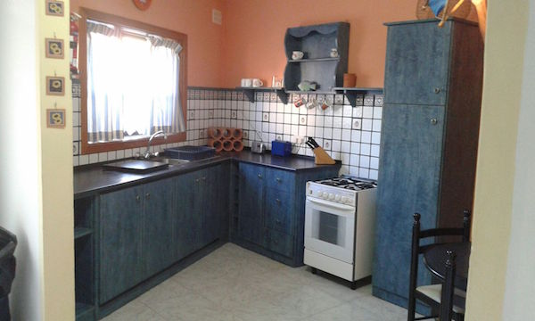 custom made blue kitchen, with spanish tiling, Malta interiors
