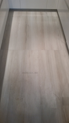 wood looking floor tiles for the kitchen, modern tiles, grey patterns, Kitchen remodeling in Old Greens, dubai, design and consultation, wooden kitchen counter, floor wood looking tiles