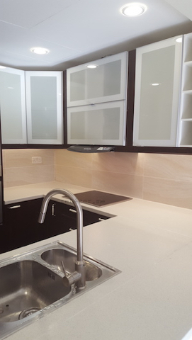 fitted appliances, brown modern kitchen, before after kitchen in Greens, design, remodelling, dubai, fitted rangehood