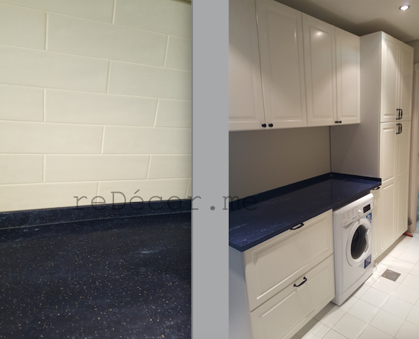 organised laundry room, kitchen subway tiles with blue corian, kitchen remodelling in Dubai Furjan villas, design, custom, off white kitchen