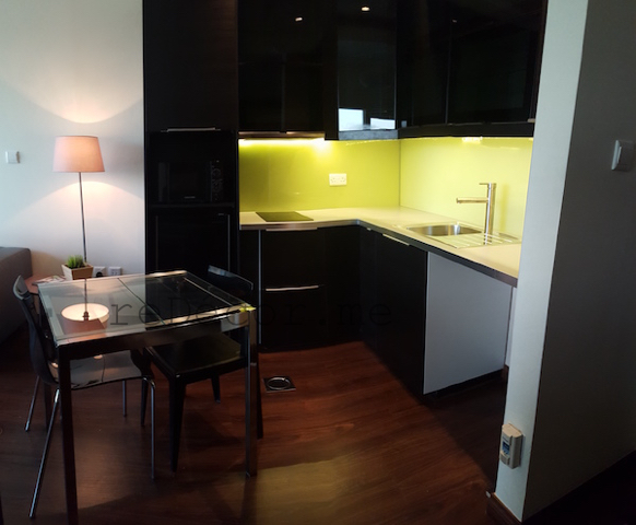 small place design, layout, kitchen remodelling, black kitchen with yellow splash back, design by erika pace, dubai, burj nujoom