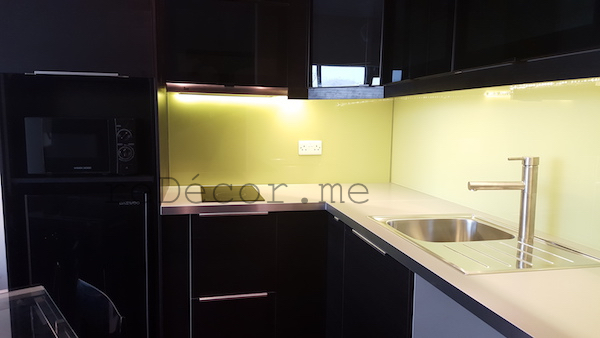 kitchen remodelling, black kitchen with yellow splash back, design by erika pace, dubai