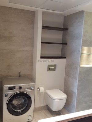console wahbasin, bathroom remodelling, fit out works on Dubai, design, walk in shower, modern bathroom, renovations by erika pace , bathroom laundry, wall mounted WC
