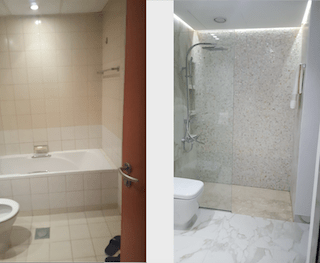 old greens bathroom renovation, remodelling, design, modern, marble, walk in shower, dubai