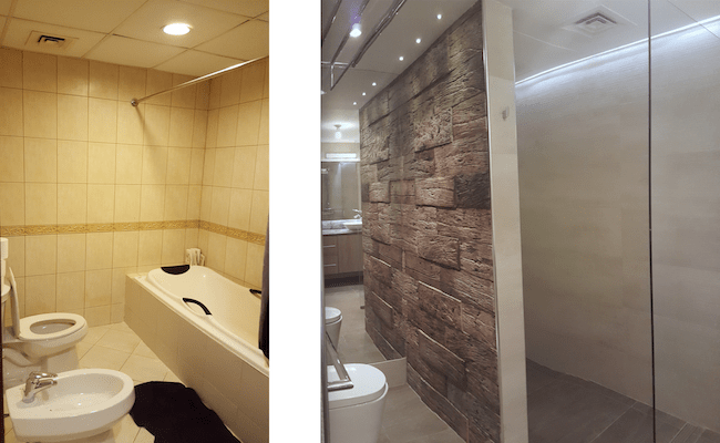 fit out bathrooms dubai, renovation, remodelling, design powder room motorcity, dubai, stone slabs like wood, 3D tiles, mirror light, recycle, master bathroom complete remodelling, big bathroom, walk in shower, 2 basins, mirror