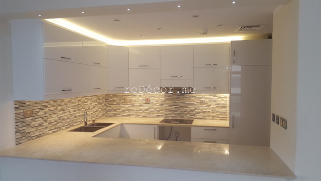 kitchen litghing solutions, backsplash tiles, kitchen remodelling in Old greens, dubai decor cosnultation, design, white kitchen, ikea, modern, granite beige, dubai fitout works, elegant kitchen handles