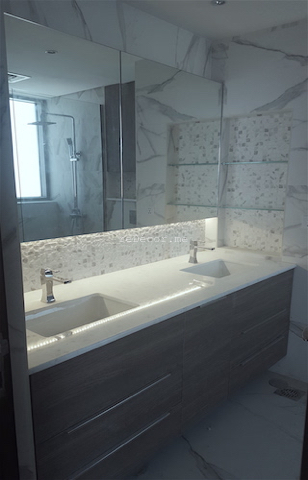 bathroom fit out dubai, remodelling business bay, executive tower, walk in shower, built in bathroom shelves, storage, marble, under counter basins, special lighting, interior design dubai, consultation, bagno bathrooms, mirror storage, light