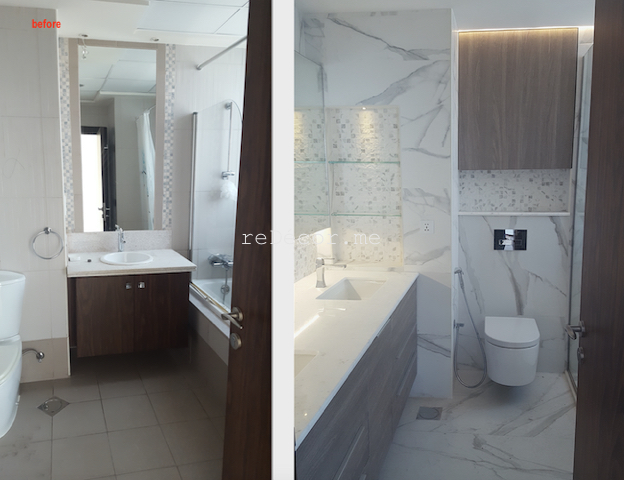 bathroom fit out dubai, remodelling business bay, executive tower, walk in shower, built in bathroom shelves, storage, marble, under counter basins, special lighting, interior design dubai, consultation, bagno bathrooms