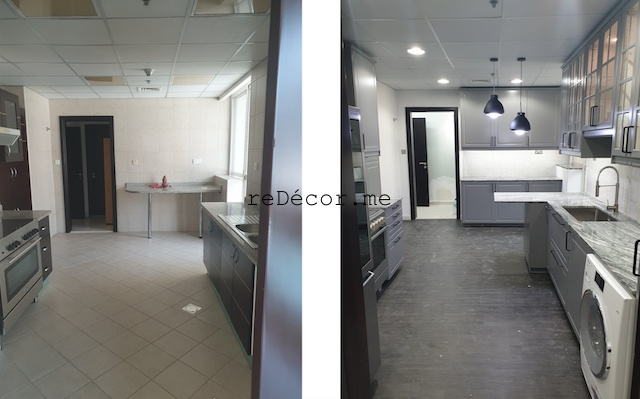 marina fitout kitchen remodeling dubai interiors grey kitchen