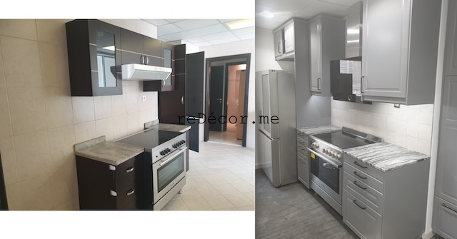 styling homes with vinyl flooring dubai marina sail fitout  kitchen remodeling dubai interiors grey with black kitchen with small island