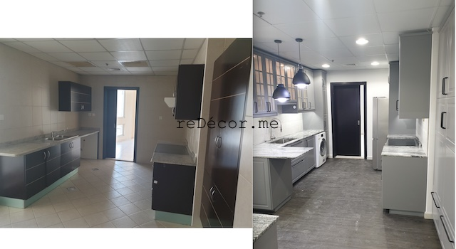 vinyl flooring dubai marina sail fitout  kitchen remodeling dubai interiors grey with black kitchen