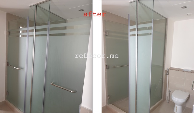 dubai hills bathrooms, interior designer dubai arabian ranches renovations, fitout dubai, shower glass frsoted