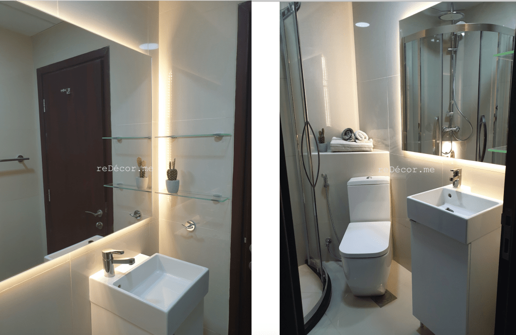 dubai interior designer, tiny bathroom with a walk in shower, bathroom renovation, dubai fit out villa , dubai interiors, renovation villa, arabian ranches, mudon, victory heights, tiny bathrooms with a shower