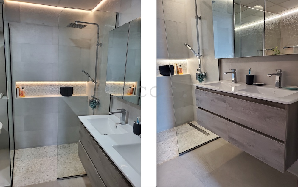 Dubai motorcity master bathroom renovation, interior designer dubai, dubai fitout, budget fitout, walk in shower , led lighting