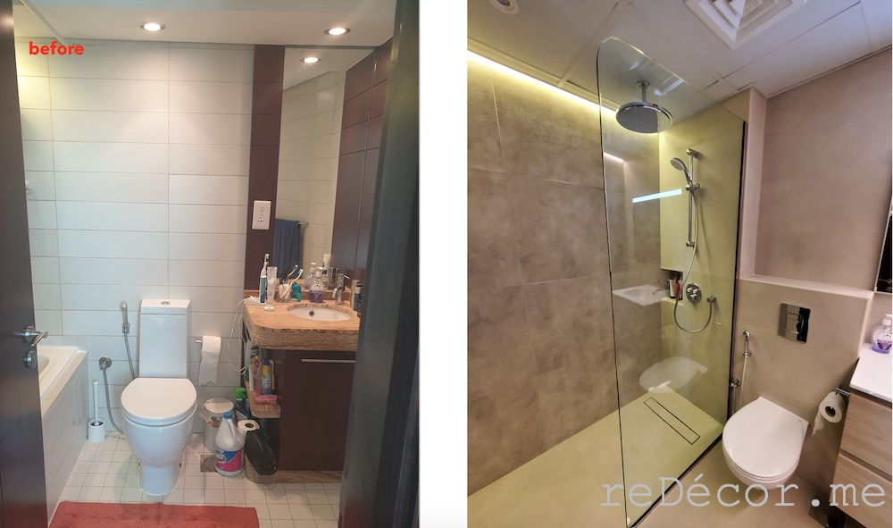Downtown burj views bathroom renovations before and after