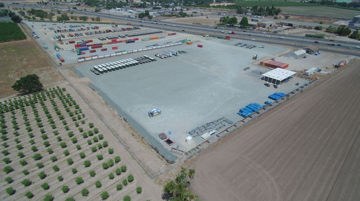 UAV Aerial Photo Of Truck Yard At Manthey Road and Interstate 5 In Stockton
